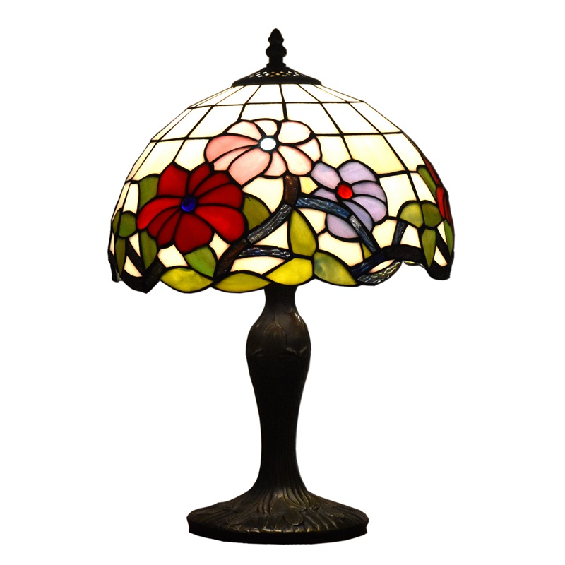 <font><b>18</b></font> Inches Tall Tiffany Style Table Lamp with Crystal Beads Stained Glass Lamp Shade Victorian Antique for Living Coffee Rooms image