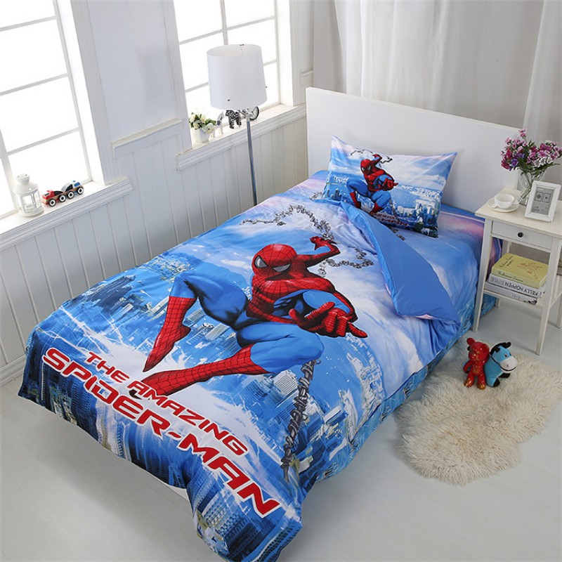 Disney Cartoon Spiderman 100% Cotton Home Textile Duvet Cover Flatsheet Pillowcases for Boys Twin Single Bed Birthday Gift