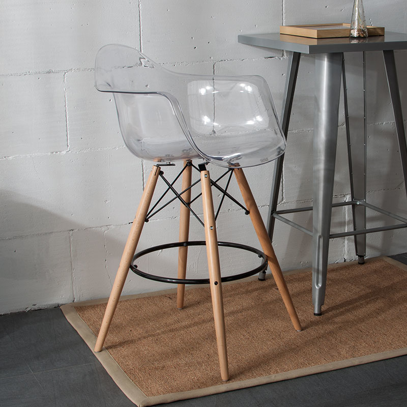 Transparent Clear Modern Design Popular Bar Chair Counter Stool Bar Stool Fashion Design furniture Plastic and Wood modern stool counter height modern wood bar chair stool kitchen pub chair bar furniture armless stool dining chair wooden tall house stool
