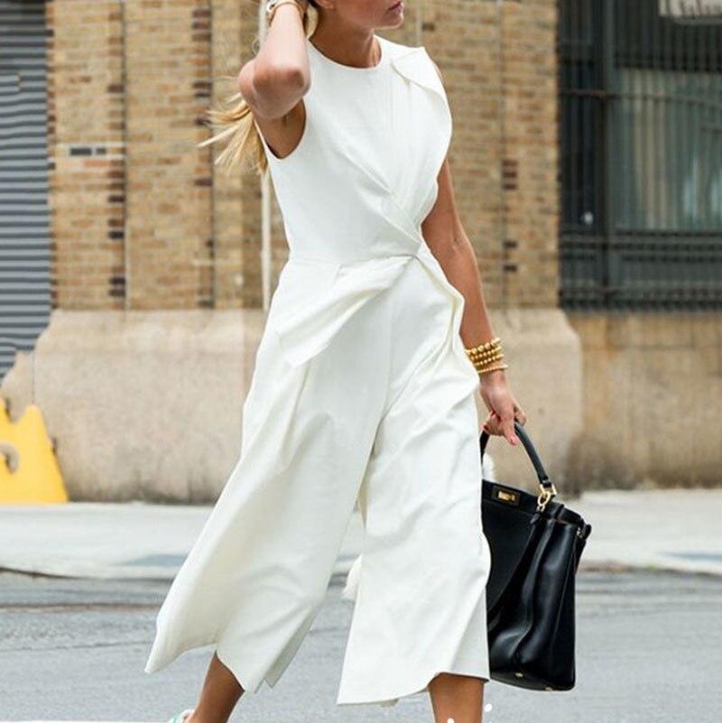 Haute White Longueur Cheville Taille Patchwork Pantalon 2019 Large Femelle Sans D'été Ba475 Costumes Jambe Shengpalae Manches Marée Tunique pqfTx0