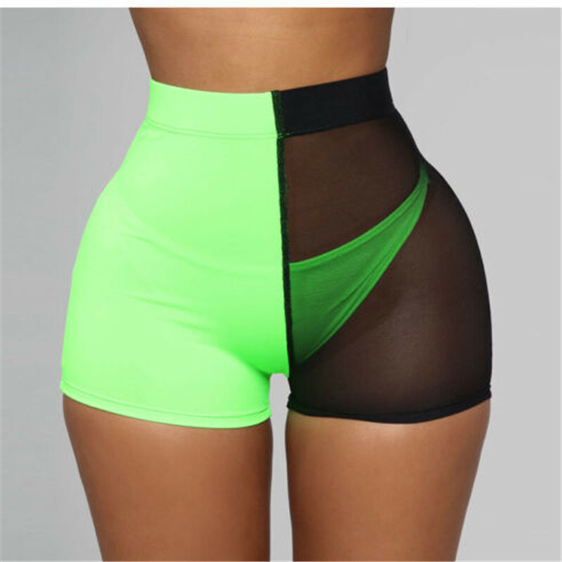 Stylish Women Mesh High Waist   shorts   summer slim fit Running   Shorts   Casual sports fitness Green Black Patchwork tight   shorts