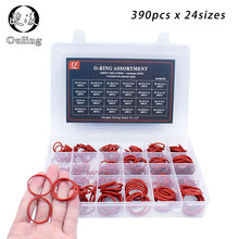 цена на 390pcs Red Silicon O-Rings Rubber Seal 24Sizes Washer Gasket O Ring O-ring Silicone Sealing Assortment Set Box Kit Ring