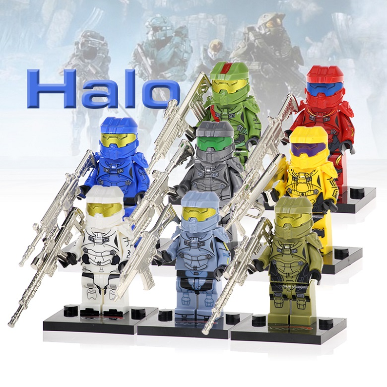 Set KF6043 Halo Spartan Solider Building Blocks Warrior With Real Metal Weapon Collection Figures Bricks Learning Kid Gift Toy(China)