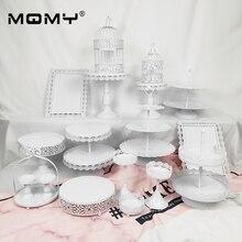 18 Pcs Wedding Cupcake Set Tray Dessert Metal Plate Wholesale Vintage Birdcage White Pink Birthday Fancy 2 3 Tier Cake Stand