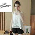 2017 New  Summer Women's Lace Hem Clothing V-Neck Sleeveless Tops Slim Style  Casual Short Comfortable Material Lace Edge