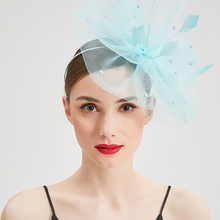 Elegant Fashion Lady Feather Fascinator Cocktail Hats for Women Wedding Party Church Headwear Mesh Veil Hair Band Fedoras Caps