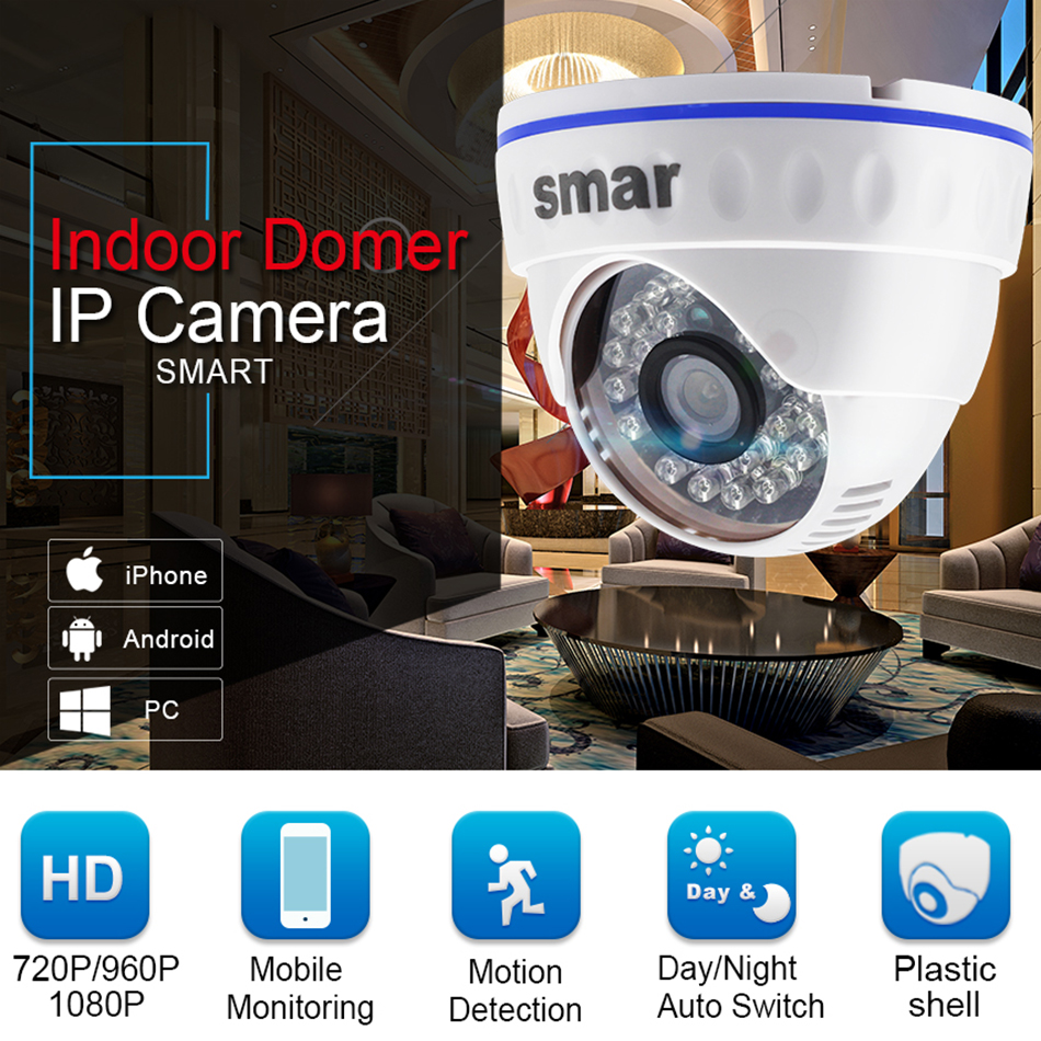 Smar H.264 Dome IP Camera 720P 960P 1080P CCTV Camera Indoor 24 hours Video Surveillance Onvif POE 48V Optional Best Price (1)
