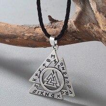 CHENGXUN Silver Norse Valknut Rune Pendant – Symbol of Viking God Odin – Asatru Elder Futhark Talisman Pewter Pendant Amulet