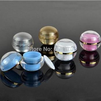 5g 1/6OZ Empty ACRYLIC cream jar Mini sample cosmetic jar Double wall ball shape travel refillable Container free shipping