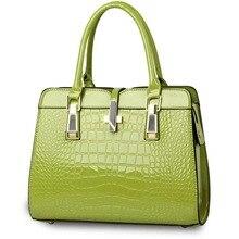 Elegant Alligator Patent Leather Women Handbag Big Women's Shoulder Bags Cross Lock Design Lady Tote Handbag