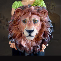 Simulation animal head wall ornaments lion head wall decoration resin lucky home gift