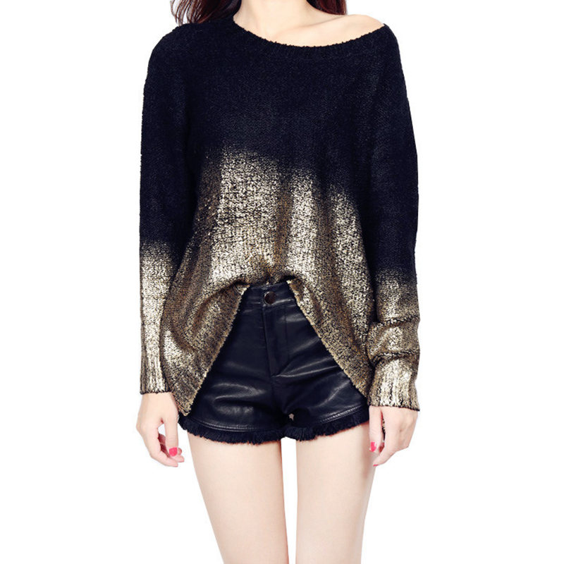 2016 Women Loose Batwing Sleeve Asymmetric Pullovers Fashion Gold ...
