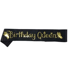 Elegant Birthday Queen Satin Sash Women Girls Queen Birthday Sash Birthday Party Decorations Ideas Supplies