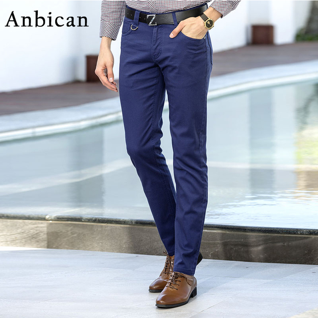 f944fd8da7b0 Anbican Spring and Summer Casual Chino Pants Men 2018 Brand New Straight  Long Trousers Male Blue