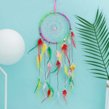 Indian feather color dream catcher birthday gift handmade wind chime pendant net bedroom home decoration