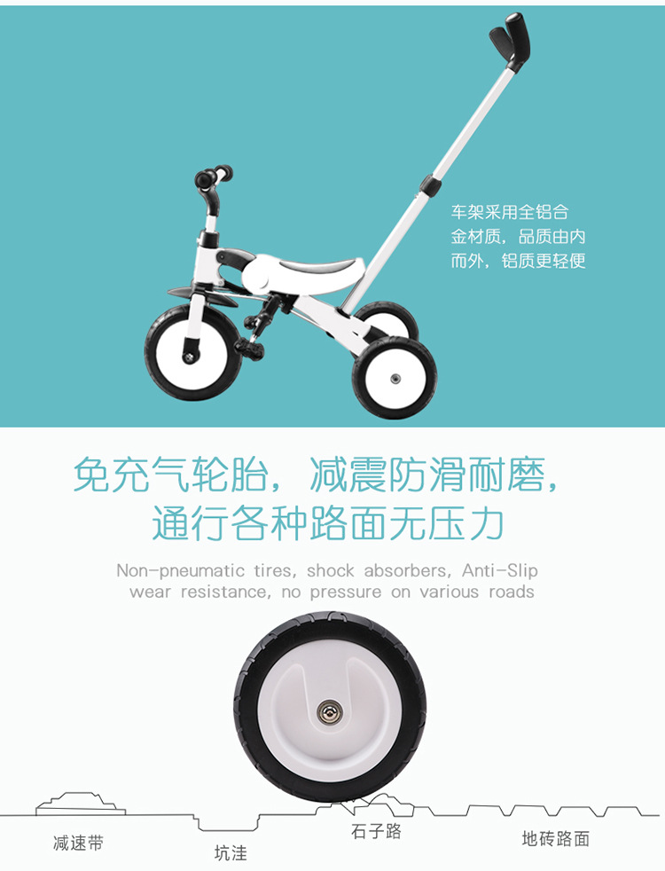 HTB19Lf4XE rK1Rjy0Fcq6zEvVXab 2019 new children's tricycle trolley 2-3-6 years old bicycle lightweight folding bicycle stroller