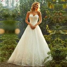 2019 Princess Tulle Boho Wedding Dress Lace Appliques Sweetheart vestido de festa longo Elegant Bridal Dress Wedding Gowns