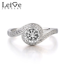 Leige Jewelry Natural White Topaz Ring Wedding Ring November Birthstone Round Cut Gemstone Solid 925 Sterling Silver Ring Gifts