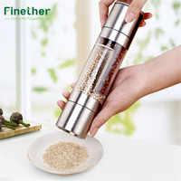 Finether Pepper Grinder 2 in 1 Stainless Steel Manual Salt Pepper Mill Spice Grinder Mills Kitchen Tools Accessories for Cooking