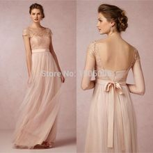 Champagne 2017 A-line Cap Sleeves Floor Length Tulle Lace Backless Long Bridesmaid Dresses Cheap Under 50 Wedding Party Dresses