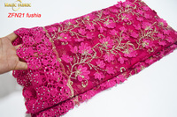 High Grade Tulle Lace African French Fabric With Embroidery Cord Lace Borders Lasher Diamonds 7426 5yards