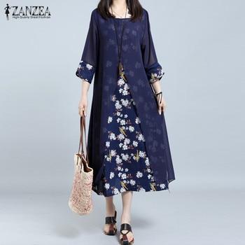 ZANZEA Plus Size Women's Dress Female Chiffion Patchwork Print Vestidos Vintage Baggy Long Dress Woman Holiday Beach Sundress 1