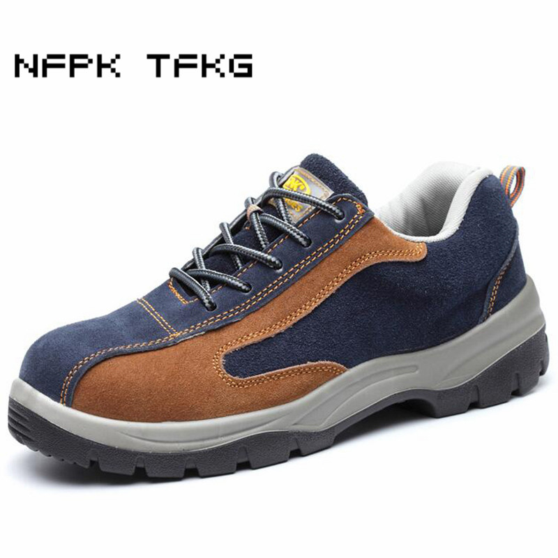 plus size men casual breathable steel toe caps work safety shoes cow suede leather puncture proof tooling security boots zapatos plus size men breathable dress shoe steel toe caps work safety summer shoes womens plate sole outdoors tooling low boots leather