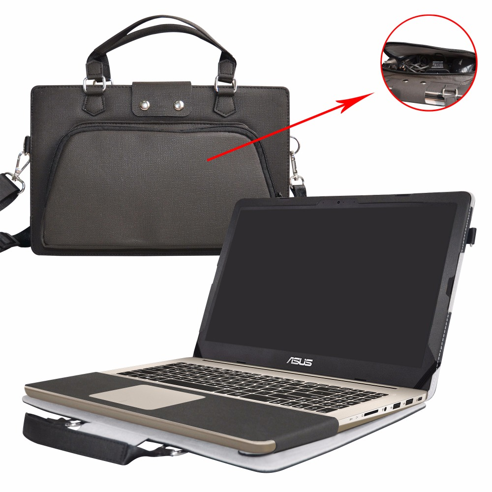 2 in 1 Accurately Designed Protective PU Leather Cover + Portable Carrying Bag For 15.6