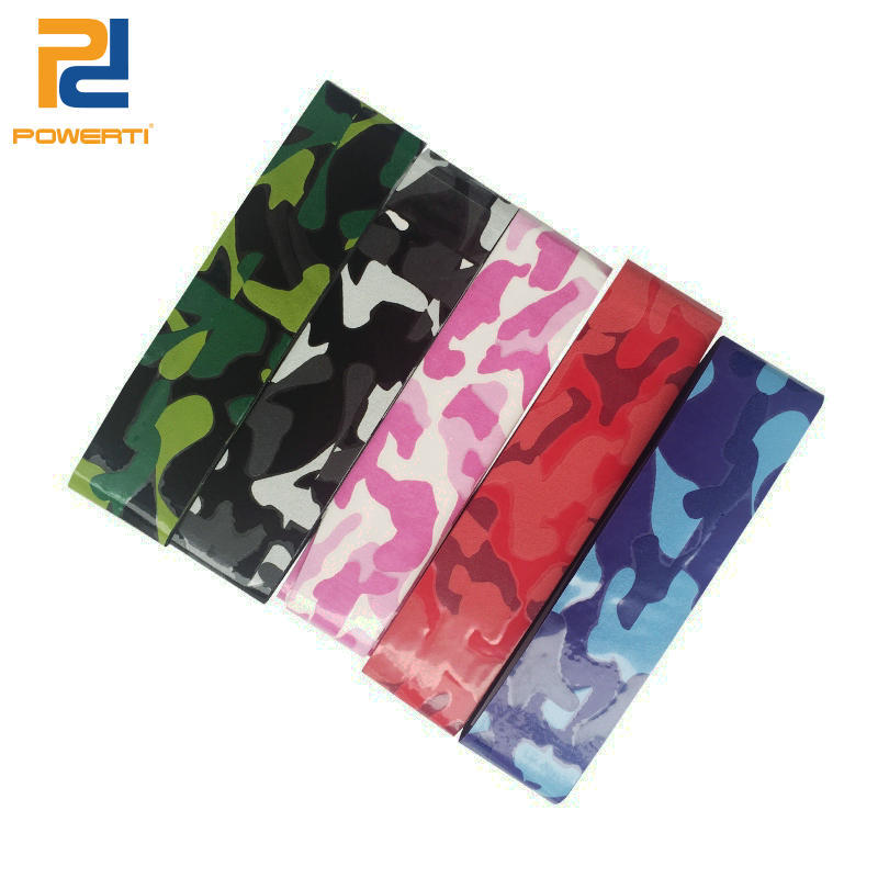 POWERTI 15pcs/lot 0.65mm Tennis Racket Grips Sweat Viscosity Tacky Sweatband Badminton Grips Gym Anti-slip Psychedelic Color