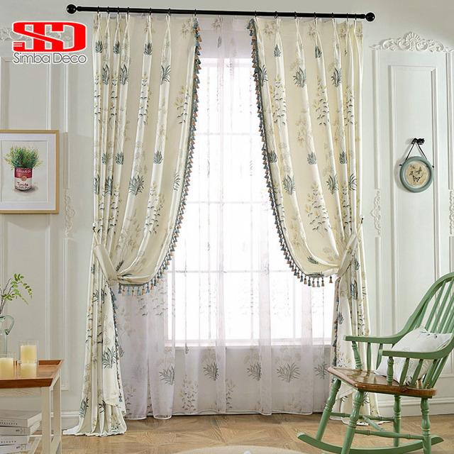Korean Leaf Tassels Blackout Curtains For Living Room Printed Drapes Panel  Kids Bedroom Cortinas Tulle Window