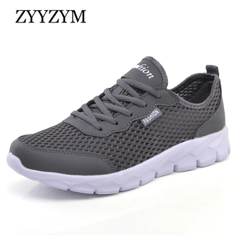 ZYYZYM Men Casual Shoes Spring Summer Fashion Sneakers Outdoors Breathable Light Mesh Unisex Lace up Plus Size