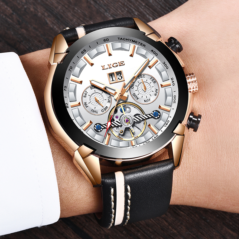 2019 LIGE Sport Watches Men Top Brand Luxury Automatic Mechanical Watch Male Leather Waterproof Business Wristwatch Reloj Hombre2019 LIGE Sport Watches Men Top Brand Luxury Automatic Mechanical Watch Male Leather Waterproof Business Wristwatch Reloj Hombre