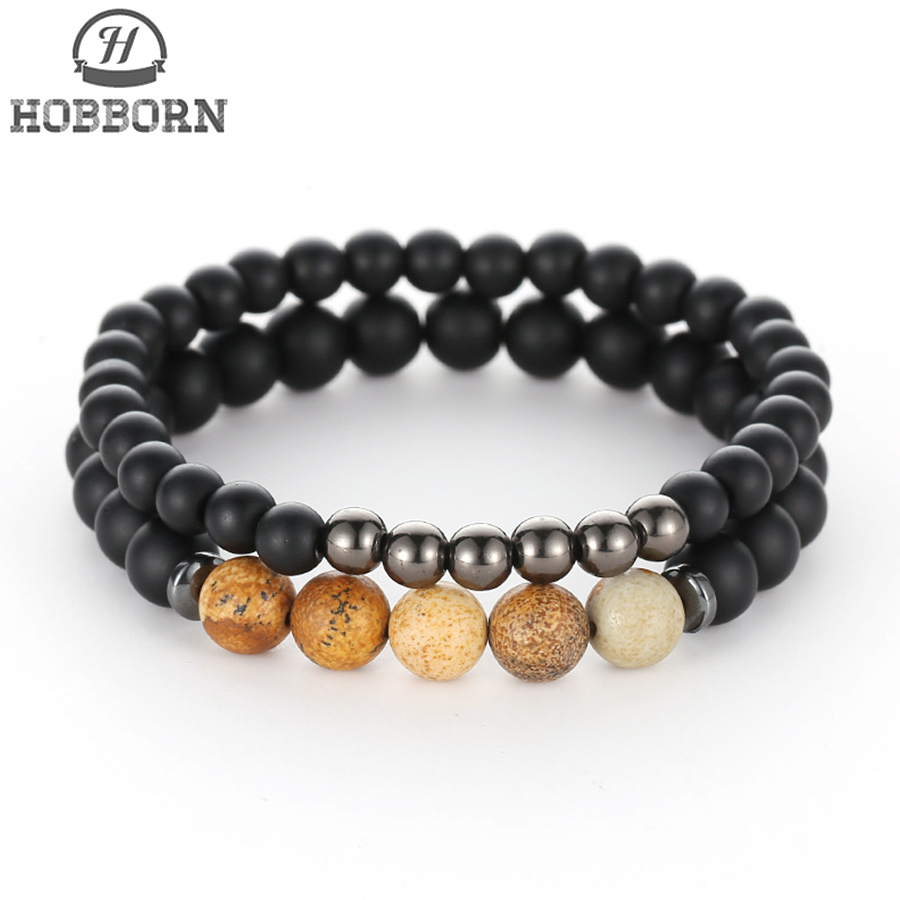 HOBBORN Trendy Natural Stone Couple Strand Bracelet 8mm Black Matte Onyx Picture Stone Mix Strand Women Men Beads Bracelet Cruz in Charm Bracelets from Jewelry Accessories