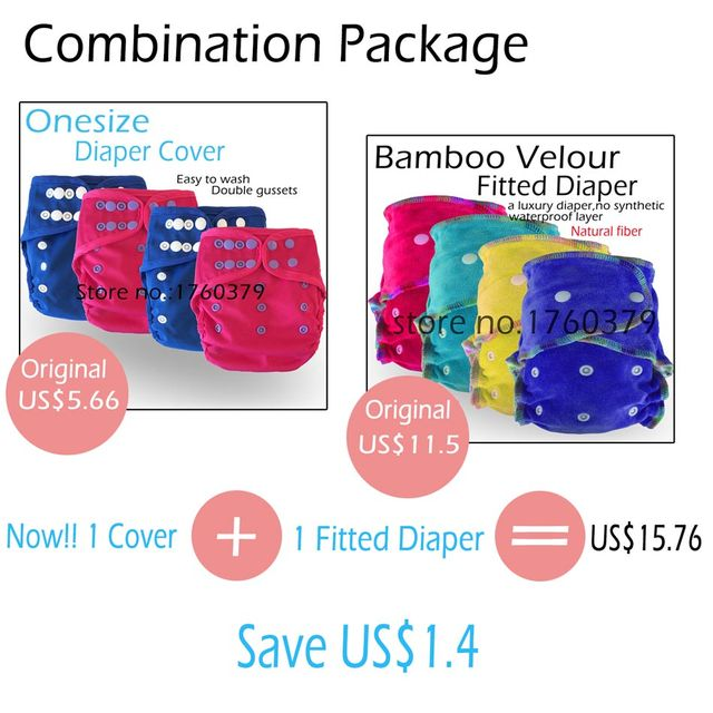 Baby Washable Reusable Real Cloth Bamboo Velour AI2 Diaper With a Waterproof Onesize Diaper Cover,Free Shipping,Combination Sell
