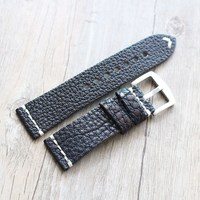 TJP Handmade 24mm Black Retro Genuine Leather Watchband Rough Leather Strap Bracelet For PAM Big Pilot