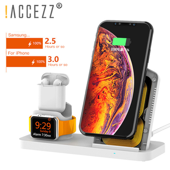 !ACCEZZ Built-in Fans Fast Wireless Charger For Airpods 1 2 Apple Watch 1 2 3 4 For iphone XS MAX Samsung Phone Magnetic Charger