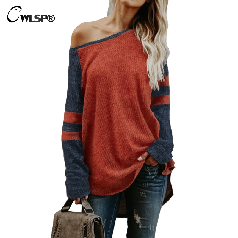CWLSP Christmas Sweaters Women Pullover One Off Shoulder Knit Color Patchwork Women Raglan sleeves Tops pull femme hiver QA2098