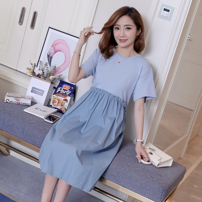 Maternity Clothes Solid Bohemian Patchwork Pregnancy Dress Loose Maternity Clothing Of Pregnant Women Cotton Premama