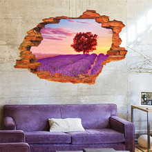 beautiful Lavender Tree Sky 3D window view wall sticker creative hole landscape scenery art home decor for living study room lavender scenic living room decor wall sticker