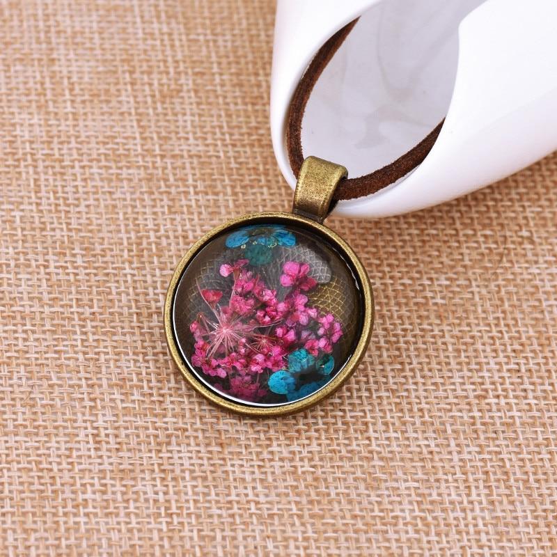 Handmade Half Glass Ball Dry Flower Necklace Glass Ball Pendant Korean Velvet Line Neckl ...
