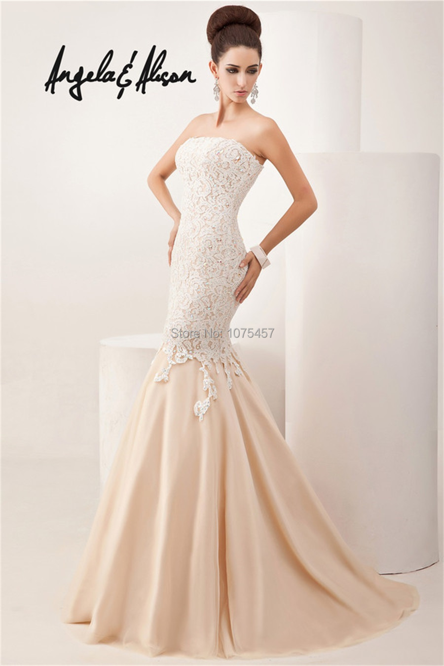 Popular Strapless Beige Prom Dress-Buy Cheap Strapless Beige Prom ...
