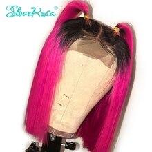 13x4 ot rosa 130% densidade curto bob peruca malásia remy cabelo frente do laço perucas de cabelo humano com raiz preta preplucked slove rosa