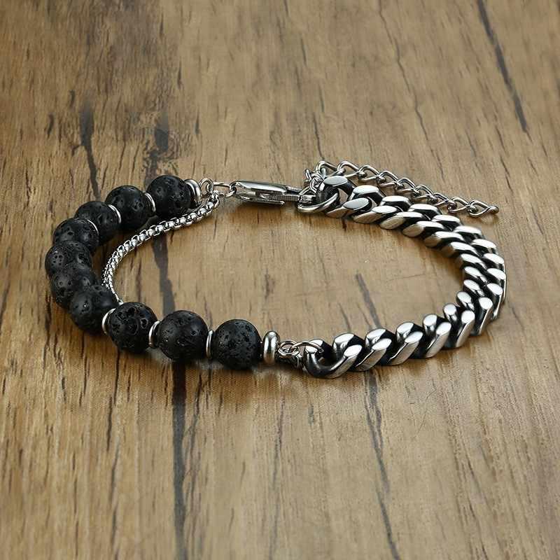 Męska bransoleta ze stali nierdzewnej kubańska Link Chais z Lave Stone zroszony dla mężczyzny biżuteria