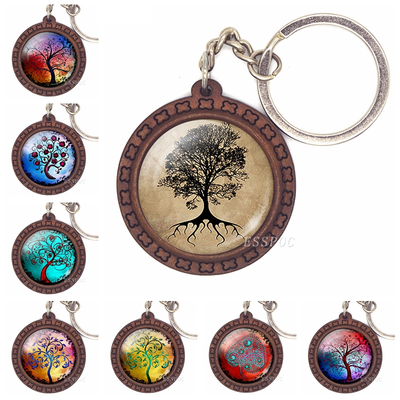 Tree Of Life Key Chain Life Tree Glass Cabochon Wooden Keychain Fashion Accessories For Men Women Handmade Valentines Day Gift