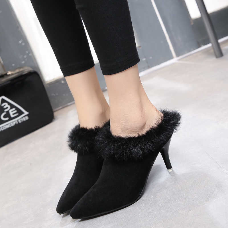 5e09673d708ee Kjstyrka Women Sexy High Heel Mules Clogs Black Pointed Toe Ladies Suede  Slippers Rabbit Fur Female Slip On Mules Shoes