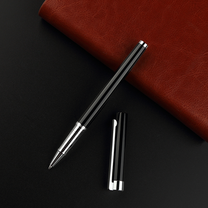 Jinhao 126 High Quality Black Silver Rollerball Pen 0.7mm Black Ink Refill Metal Ballpoint Pen for Student School Supplies