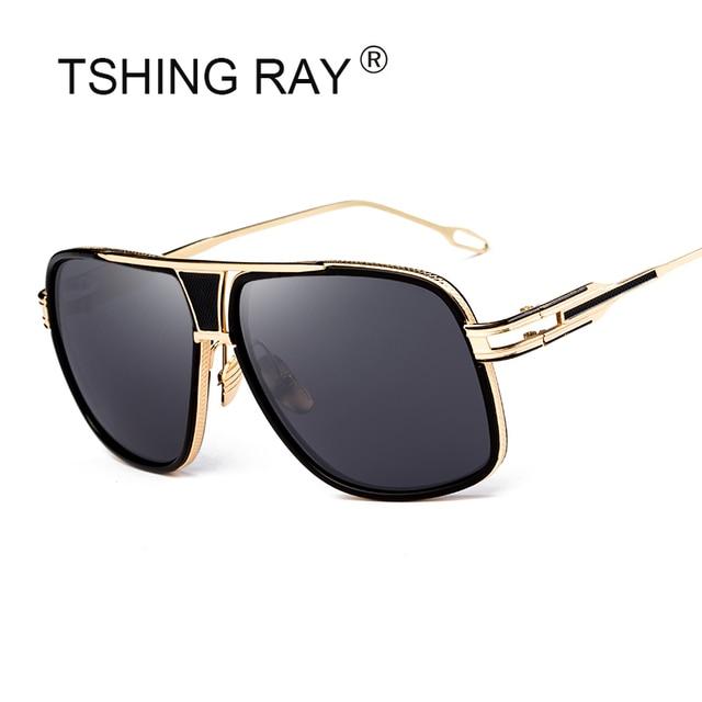 7d465bd8ea6405 TSHING RAY Mode Hommes Grande Place lunettes de Soleil Homme Marque De Luxe  Designer Surdimensionné Métal
