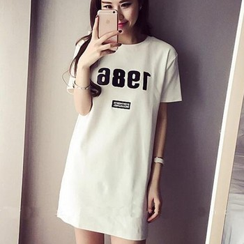 Number Printed Cotton Slim Loose T-shirt Women Summer Long T- shirt Short Sleeve Casual Female Tops summer tops for women fashion t shirt with sequins loose t shirt short sleeve casual fashion shiny tops