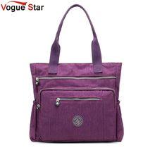 المرأة عالية الجودة حقيبة يد من النايلون حقيبة كتف كبيرة عادية موضة عالية السعة حمل العلامة التجارية تصميم مقاوم للماء حقيبة كبيرة L81