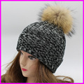 2016 Fashion Womens Winter Hat With Fur Pom Poms 100% Real Raccoon Fur Caps Female Winter Hats For Women